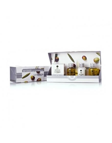 Lot de produits cosmétiques miniatures à base d'huile d'olive extra vierge