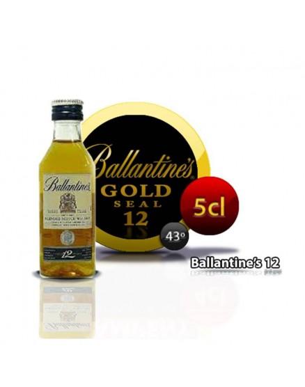 Botella de whisky miniatura del sello dorado de Ballantines de 12 años. 5CL 43 °
