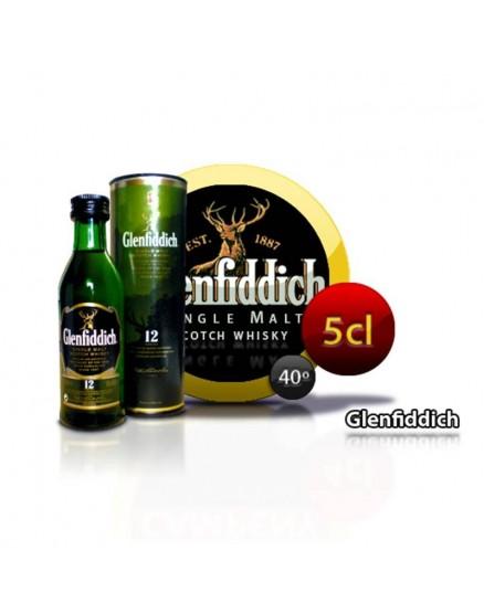 Botella de whisky escocés en miniatura Glendfiddich. 5CL 40 °
