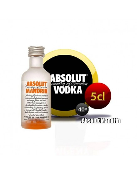 Absolut Mandrin Vodka miniatura en botella de 5cl.