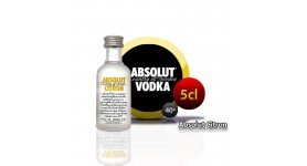 Miniatura Absolut Citron vodka en botella de 5cl.