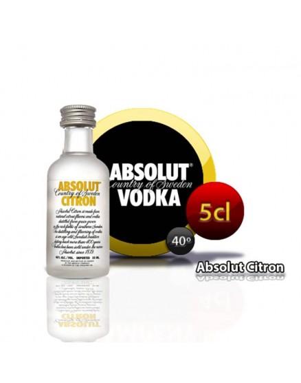 Miniatura Absolut Citron vodka en botella de 5cl.