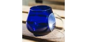 6 Vaso cata de aceite de oliva, vidrio azul+ 6 tapas de vasos
