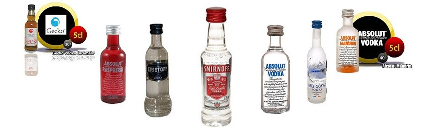 Botellas de vodka en miniatura.
