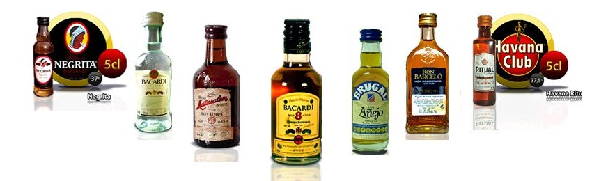 Miniature bottles of rum